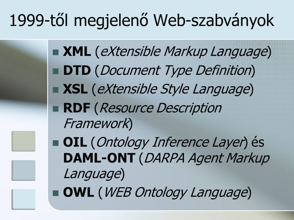1999-től megjelenő Web-szabványok XML (eXtensible Markup Language) DTD (Document Type Definition) XSL (eXtensible Style Language) RDF (Resource Description Framework) OIL (Ontology Inference Layer) és DAML-ONT (DARPA Agent Markup Language) OWL (WEB Ontology Language)