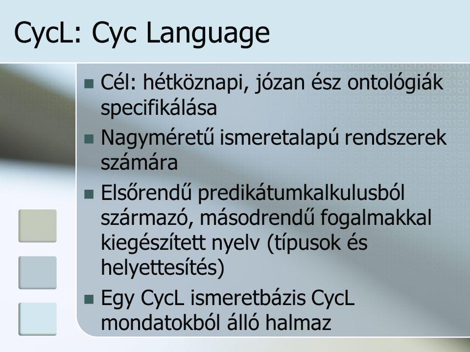CycL: Cyc Language Cél: hétköznapi, józan ész ontológiák specifikálása Nagyméretű ismeretalapú rendszerek számára Elsőrendű predikátumkalkulusból származó, másodrendű fogalmakkal kiegészített nyelv (típusok és helyettesítés) Egy CycL ismeretbázis CycL mondatokból álló halmaz