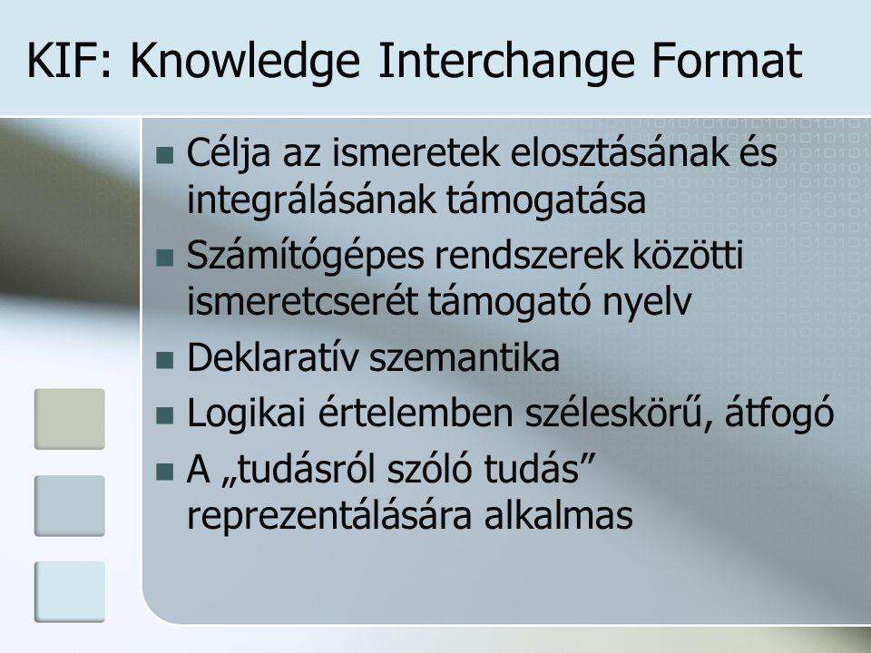 """KIF: Knowledge Interchange Format Célja az ismeretek elosztásának és integrálásának támogatása Számítógépes rendszerek közötti ismeretcserét támogató nyelv Deklaratív szemantika Logikai értelemben széleskörű, átfogó A """"tudásról szóló tudás reprezentálására alkalmas"""