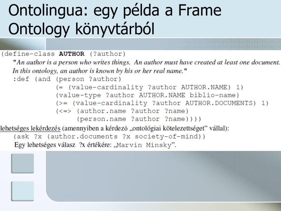 Ontolingua: egy példa a Frame Ontology könyvtárból