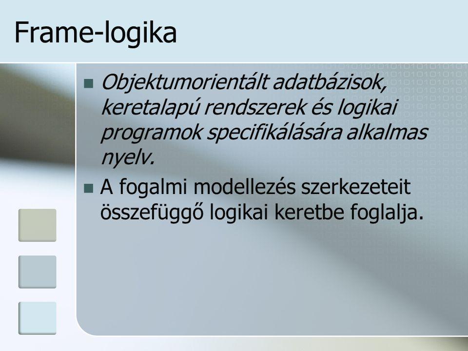 Frame-logika Objektumorientált adatbázisok, keretalapú rendszerek és logikai programok specifikálására alkalmas nyelv.