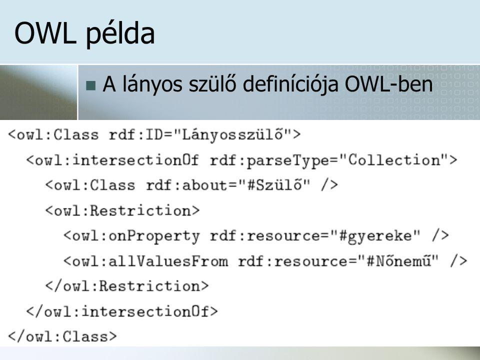 OWL példa A lányos szülő definíciója OWL-ben