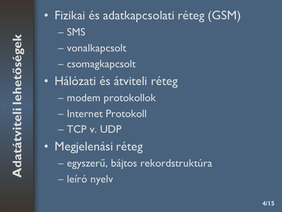 4/15 Fizikai és adatkapcsolati réteg (GSM) –SMS –vonalkapcsolt –csomagkapcsolt Hálózati és átviteli réteg –modem protokollok –Internet Protokoll –TCP v.