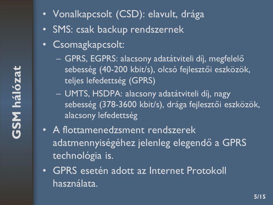 5/15 Vonalkapcsolt (CSD): elavult, drága SMS: csak backup rendszernek Csomagkapcsolt: –GPRS, EGPRS: alacsony adatátviteli díj, megfelelő sebesség (40-200 kbit/s), olcsó fejlesztői eszközök, teljes lefedettség (GPRS) –UMTS, HSDPA: alacsony adatátviteli díj, nagy sebesség (378-3600 kbit/s), drága fejlesztői eszközök, alacsony lefedettség A flottamenedzsment rendszerek adatmennyiségéhez jelenleg elegendő a GPRS technológia is.