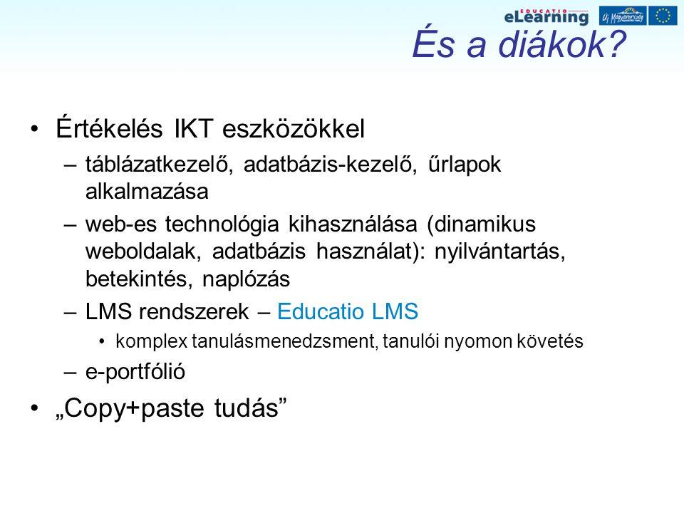 És a diákok? Értékelés IKT eszközökkel –táblázatkezelő, adatbázis-kezelő, űrlapok alkalmazása –web-es technológia kihasználása (dinamikus weboldalak,