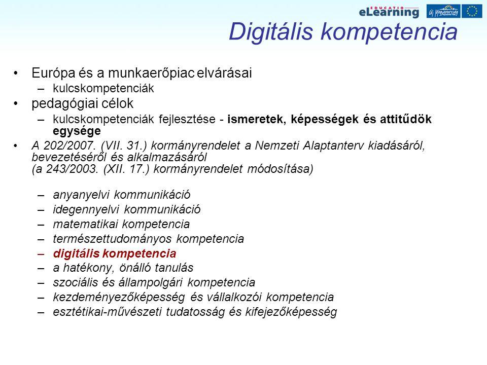 Digitális kompetencia Európa és a munkaerőpiac elvárásai –kulcskompetenciák pedagógiai célok –kulcskompetenciák fejlesztése - ismeretek, képességek és attitűdök egysége A 202/2007.