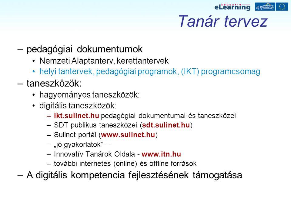 Tanár tervez –pedagógiai dokumentumok Nemzeti Alaptanterv, kerettantervek helyi tantervek, pedagógiai programok, (IKT) programcsomag –taneszközök: hag