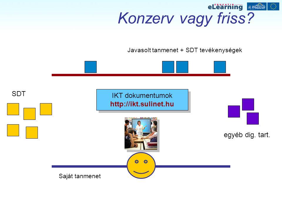Konzerv vagy friss? SDT egyéb dig. tart. IKT dokumentumok http://ikt.sulinet.hu IKT dokumentumok http://ikt.sulinet.hu Javasolt tanmenet + SDT tevéken