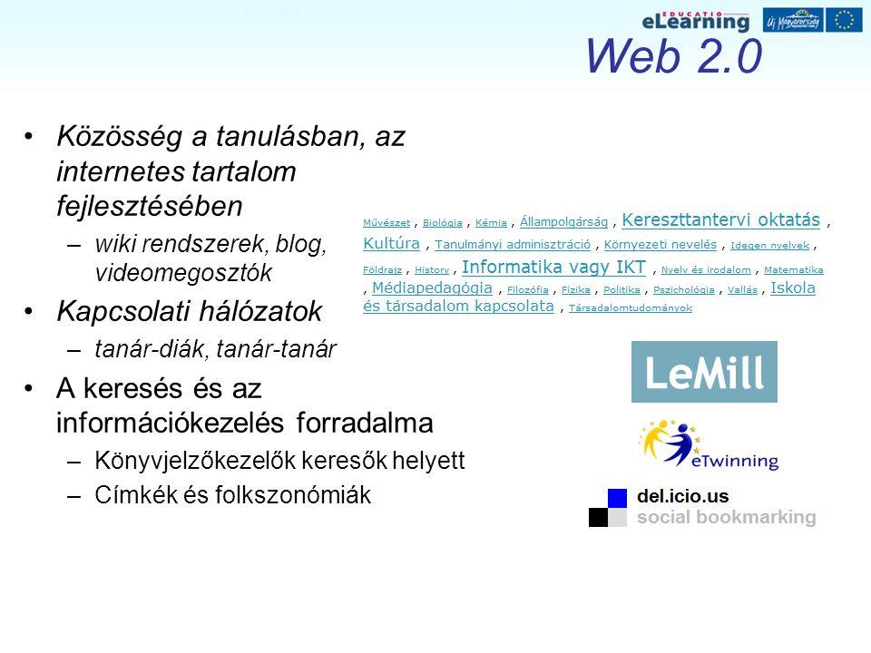 Web 2.0 Közösség a tanulásban, az internetes tartalom fejlesztésében –wiki rendszerek, blog, videomegosztók Kapcsolati hálózatok –tanár-diák, tanár-tanár A keresés és az információkezelés forradalma –Könyvjelzőkezelők keresők helyett –Címkék és folkszonómiák