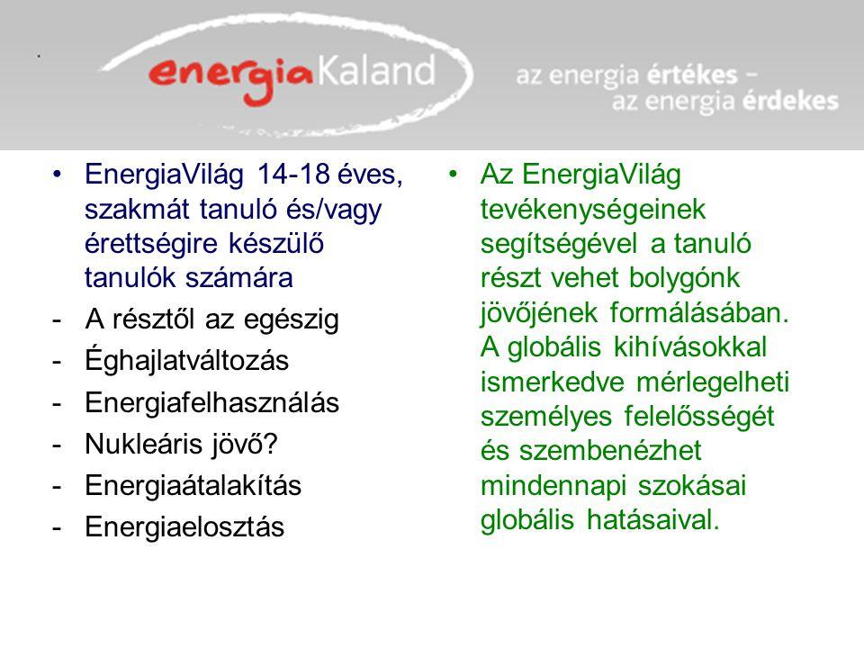 EnergiaVilág 14-18 éves, szakmát tanuló és/vagy érettségire készülő tanulók számára - A résztől az egészig -Éghajlatváltozás -Energiafelhasználás -Nuk