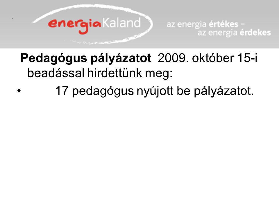 Pedagógus pályázatot 2009. október 15-i beadással hirdettünk meg: 17 pedagógus nyújott be pályázatot.