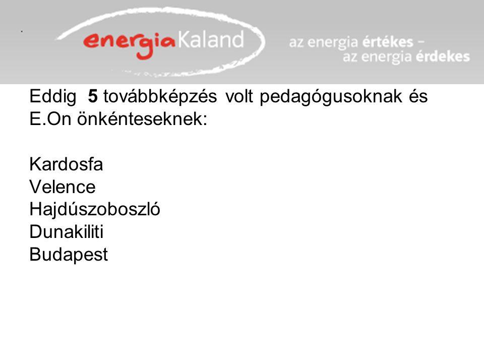 Eddig 5 továbbképzés volt pedagógusoknak és E.On önkénteseknek: Kardosfa Velence Hajdúszoboszló Dunakiliti Budapest
