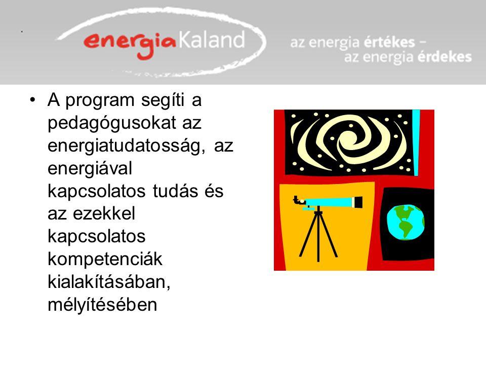 A program segíti a pedagógusokat az energiatudatosság, az energiával kapcsolatos tudás és az ezekkel kapcsolatos kompetenciák kialakításában, mélyítés
