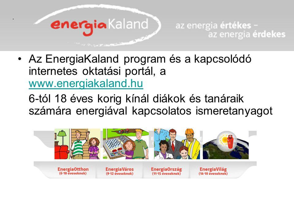 Az EnergiaKaland program és a kapcsolódó internetes oktatási portál, a www.energiakaland.hu www.energiakaland.hu 6-tól 18 éves korig kínál diákok és t