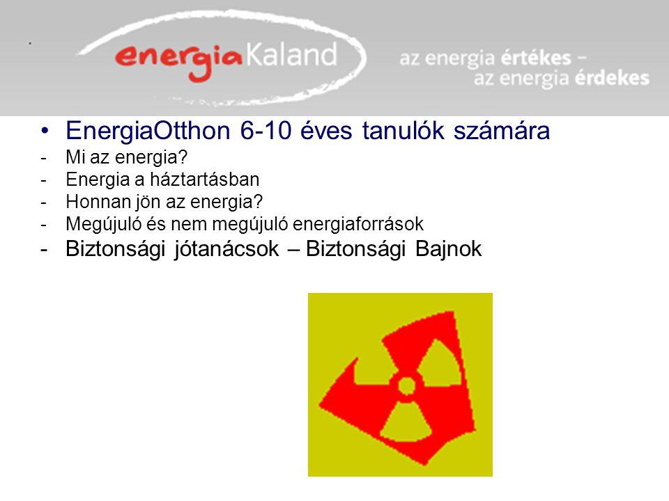 EnergiaOtthon 6-10 éves tanulók számára -Mi az energia? -Energia a háztartásban -Honnan jön az energia? -Megújuló és nem megújuló energiaforrások -Biz