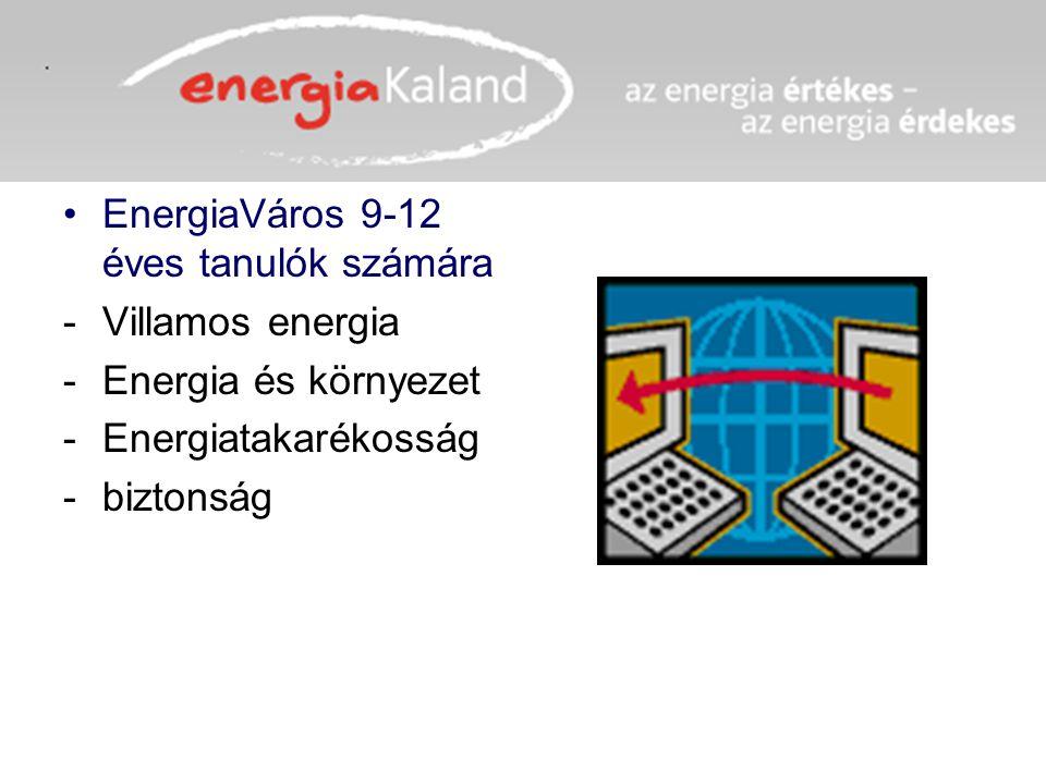 EnergiaVáros 9-12 éves tanulók számára -Villamos energia -Energia és környezet -Energiatakarékosság -biztonság