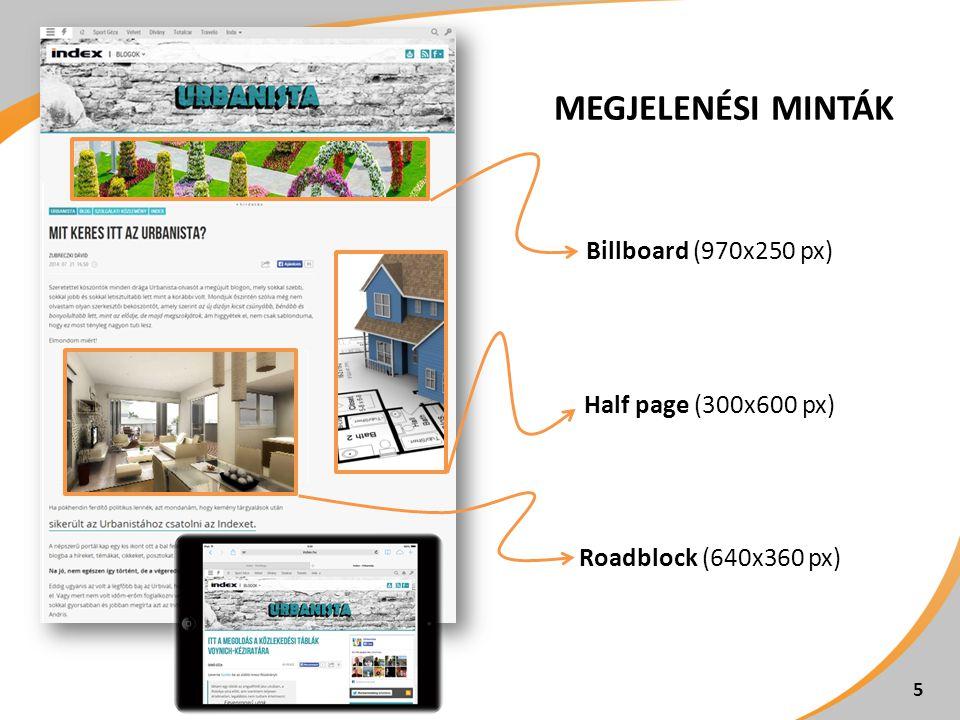 MEGJELENÉSI MINTÁK Billboard (970x250 px) Half page (300x600 px) Roadblock (640x360 px) 5