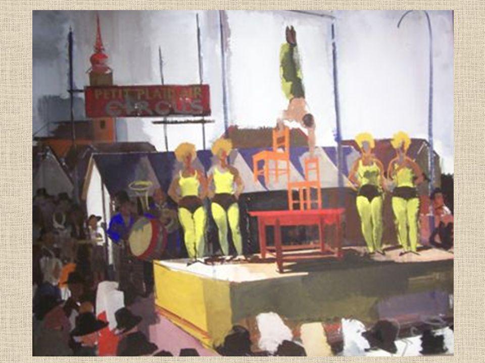 A cirkusz világa (Az ötödik egység) A kiállítás ötödik terme a manézs izgalmas, kétarcú világába enged bepillantást, a festő sajátos, vaskos iróniára hajló mű- vészi optikáján keresztül.