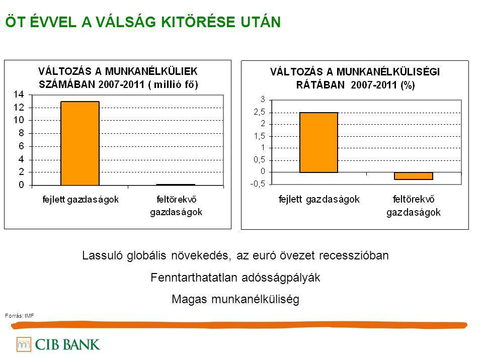 ÖT ÉVVEL A VÁLSÁG KITÖRÉSE UTÁN Lassuló globális növekedés, az euró övezet recesszióban Fenntarthatatlan adósságpályák Magas munkanélküliség Forrás: I
