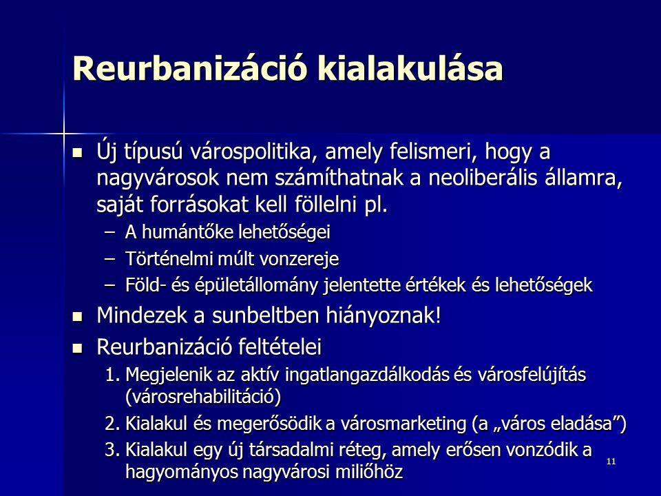 11 Reurbanizáció kialakulása Új típusú várospolitika, amely felismeri, hogy a nagyvárosok nem számíthatnak a neoliberális államra, saját forrásokat kell föllelni pl.