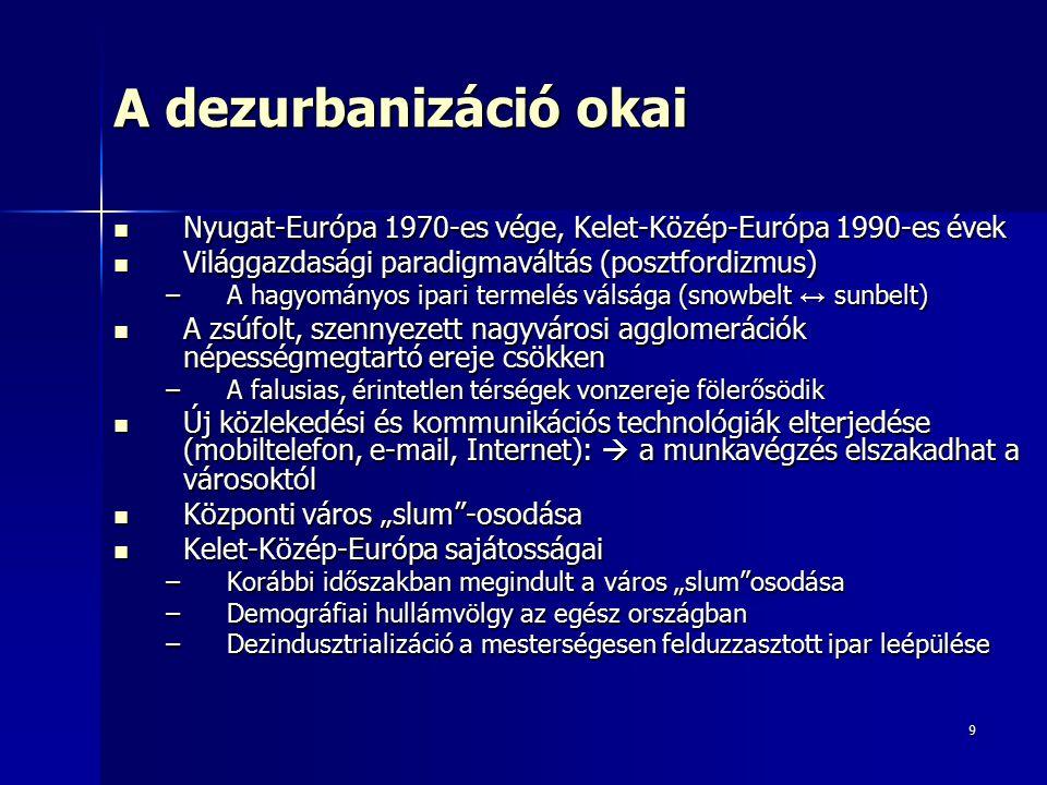 """9 A dezurbanizáció okai Nyugat-Európa 1970-es vége, Kelet-Közép-Európa 1990-es évek Nyugat-Európa 1970-es vége, Kelet-Közép-Európa 1990-es évek Világgazdasági paradigmaváltás (posztfordizmus) Világgazdasági paradigmaváltás (posztfordizmus) –A hagyományos ipari termelés válsága (snowbelt ↔ sunbelt) A zsúfolt, szennyezett nagyvárosi agglomerációk népességmegtartó ereje csökken A zsúfolt, szennyezett nagyvárosi agglomerációk népességmegtartó ereje csökken –A falusias, érintetlen térségek vonzereje fölerősödik Új közlekedési és kommunikációs technológiák elterjedése (mobiltelefon, e-mail, Internet):  a munkavégzés elszakadhat a városoktól Új közlekedési és kommunikációs technológiák elterjedése (mobiltelefon, e-mail, Internet):  a munkavégzés elszakadhat a városoktól Központi város """"slum -osodása Központi város """"slum -osodása Kelet-Közép-Európa sajátosságai Kelet-Közép-Európa sajátosságai –Korábbi időszakban megindult a város """"slum osodása –Demográfiai hullámvölgy az egész országban –Dezindusztrializáció a mesterségesen felduzzasztott ipar leépülése"""
