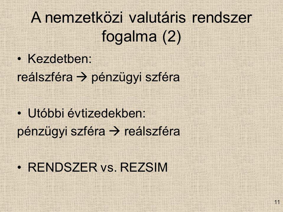 11 A nemzetközi valutáris rendszer fogalma (2) Kezdetben: reálszféra  pénzügyi szféra Utóbbi évtizedekben: pénzügyi szféra  reálszféra RENDSZER vs.
