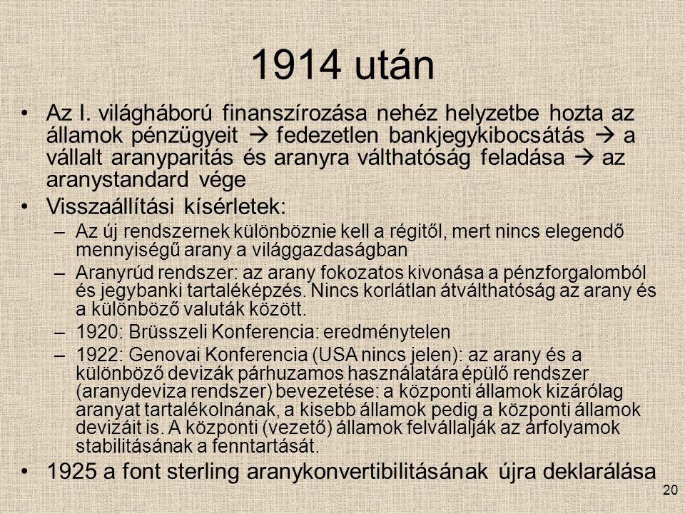 20 1914 után Az I.