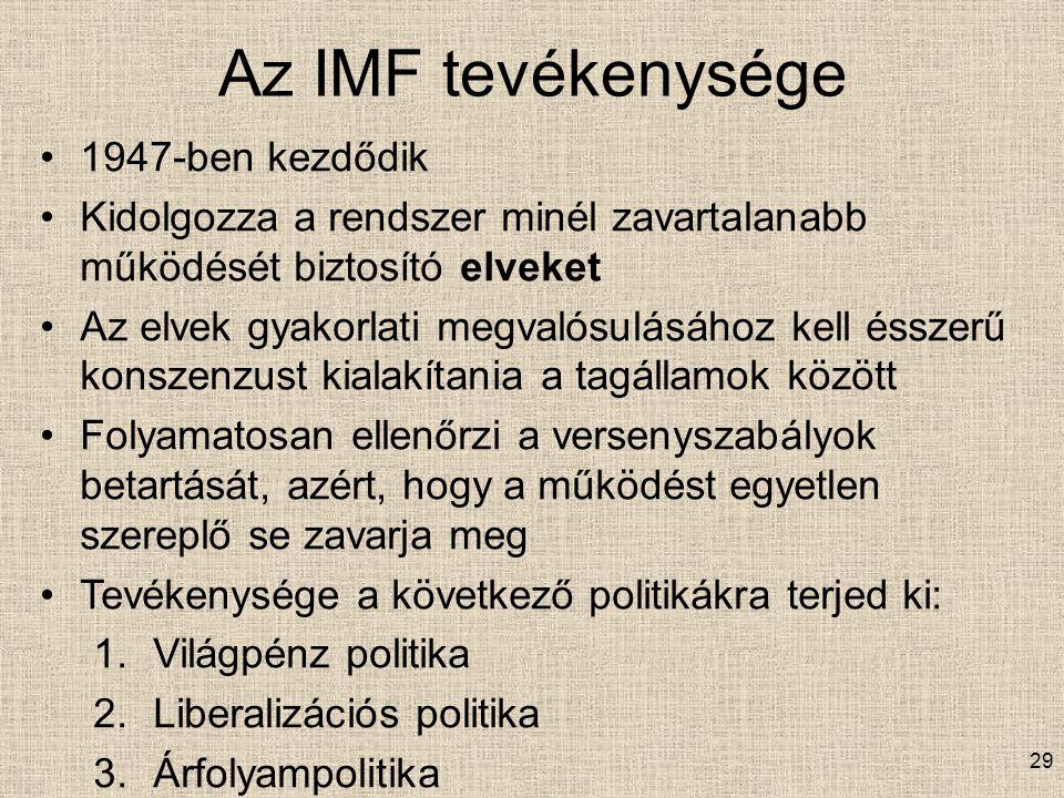 Az IMF tevékenysége 1947-ben kezdődik Kidolgozza a rendszer minél zavartalanabb működését biztosító elveket Az elvek gyakorlati megvalósulásához kell ésszerű konszenzust kialakítania a tagállamok között Folyamatosan ellenőrzi a versenyszabályok betartását, azért, hogy a működést egyetlen szereplő se zavarja meg Tevékenysége a következő politikákra terjed ki: 1.Világpénz politika 2.Liberalizációs politika 3.Árfolyampolitika 29