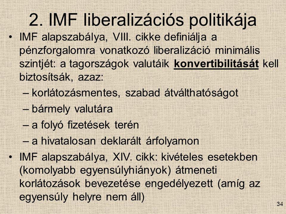 2.IMF liberalizációs politikája IMF alapszabálya, VIII.