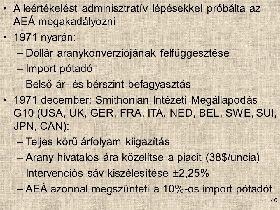 A leértékelést adminisztratív lépésekkel próbálta az AEÁ megakadályozni 1971 nyarán: –Dollár aranykonverziójának felfüggesztése –Import pótadó –Belső ár- és bérszint befagyasztás 1971 december: Smithonian Intézeti Megállapodás G10 (USA, UK, GER, FRA, ITA, NED, BEL, SWE, SUI, JPN, CAN): –Teljes körű árfolyam kiigazítás –Arany hivatalos ára közelítse a piacit (38$/uncia) –Intervenciós sáv kiszélesítése ±2,25% –AEÁ azonnal megszünteti a 10%-os import pótadót 40