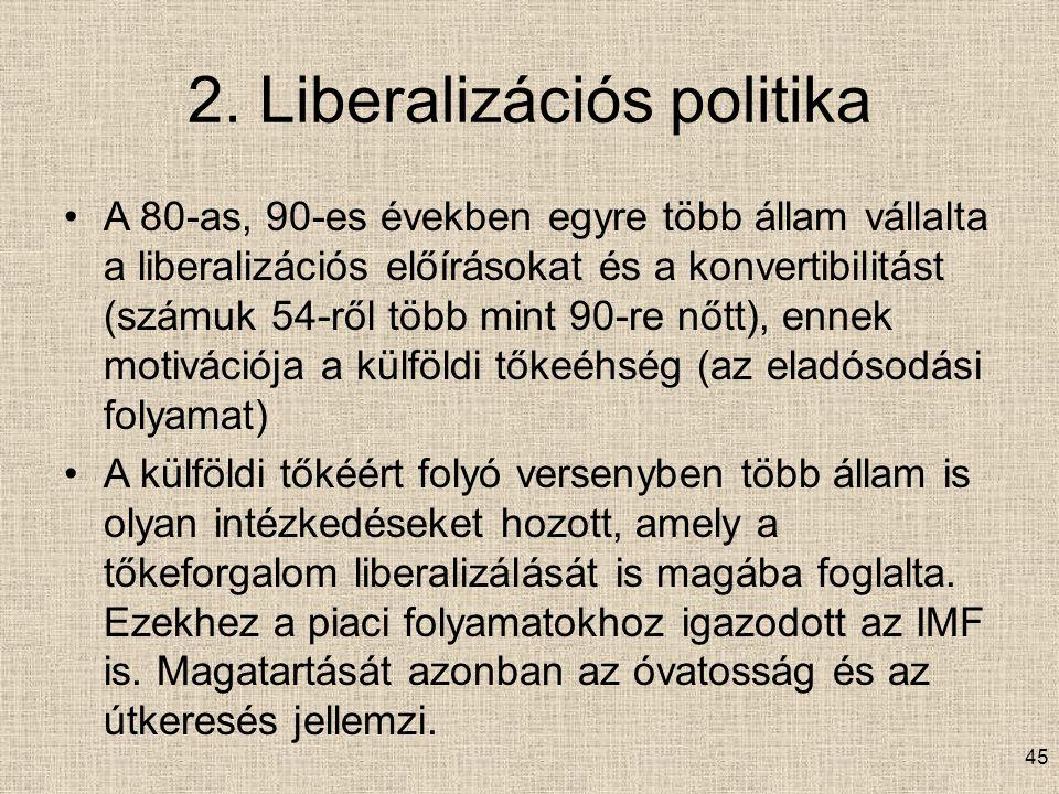 2. Liberalizációs politika A 80-as, 90-es években egyre több állam vállalta a liberalizációs előírásokat és a konvertibilitást (számuk 54-ről több min