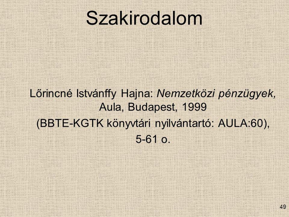 Szakirodalom Lőrincné Istvánffy Hajna: Nemzetközi pénzügyek, Aula, Budapest, 1999 (BBTE-KGTK könyvtári nyilvántartó: AULA:60), 5-61 o.