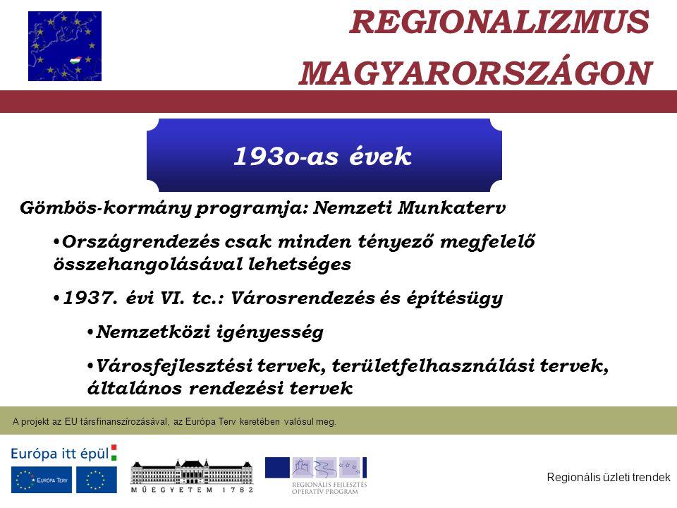 Regionális üzleti trendek A projekt az EU társfinanszírozásával, az Európa Terv keretében valósul meg. 2004. január 27. 193o-as évek Gömbös-kormány pr