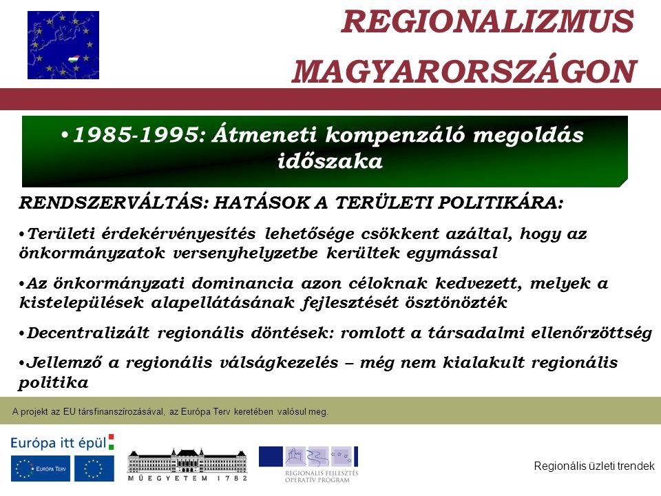 Regionális üzleti trendek A projekt az EU társfinanszírozásával, az Európa Terv keretében valósul meg. 2004. január 27. RENDSZERVÁLTÁS: HATÁSOK A TERÜ