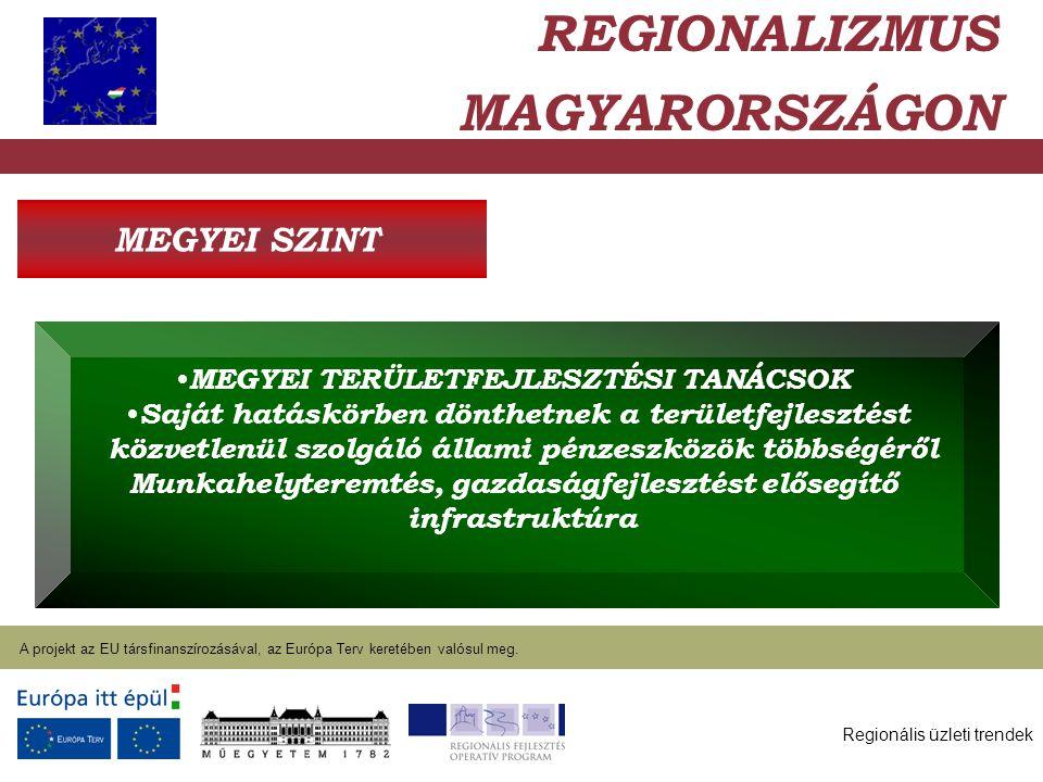 Regionális üzleti trendek A projekt az EU társfinanszírozásával, az Európa Terv keretében valósul meg. 2004. január 27. REGIONALIZMUS MAGYARORSZÁGON M