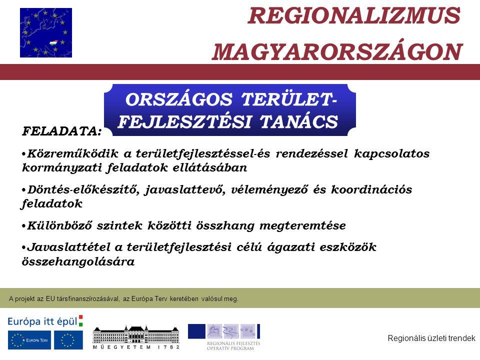 Regionális üzleti trendek A projekt az EU társfinanszírozásával, az Európa Terv keretében valósul meg. 2004. január 27. ORSZÁGOS TERÜLET- FEJLESZTÉSI
