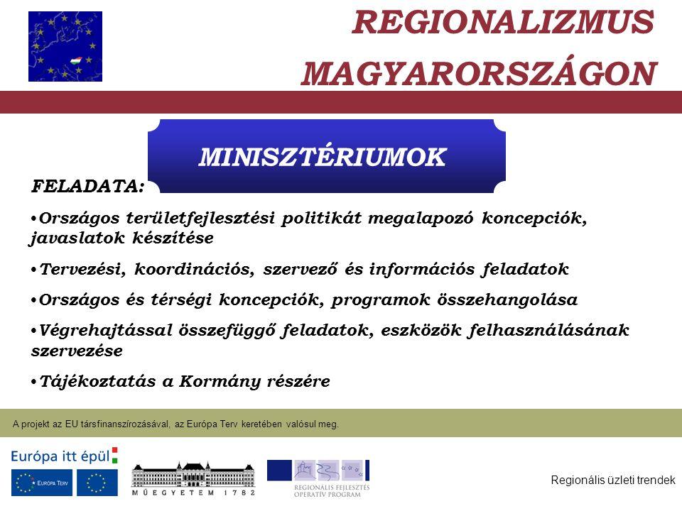 Regionális üzleti trendek A projekt az EU társfinanszírozásával, az Európa Terv keretében valósul meg. 2004. január 27. MINISZTÉRIUMOK REGIONALIZMUS M