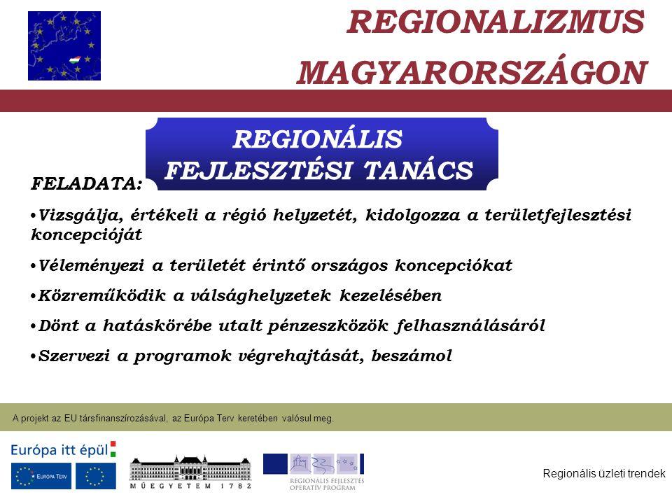 Regionális üzleti trendek A projekt az EU társfinanszírozásával, az Európa Terv keretében valósul meg. 2004. január 27. REGIONÁLIS FEJLESZTÉSI TANÁCS