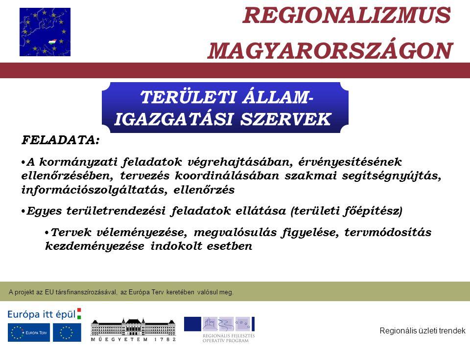 Regionális üzleti trendek A projekt az EU társfinanszírozásával, az Európa Terv keretében valósul meg. 2004. január 27. TERÜLETI ÁLLAM- IGAZGATÁSI SZE