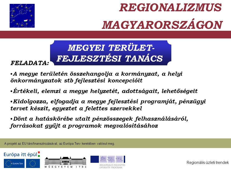 Regionális üzleti trendek A projekt az EU társfinanszírozásával, az Európa Terv keretében valósul meg. 2004. január 27. MEGYEI TERÜLET- FEJLESZTÉSI TA