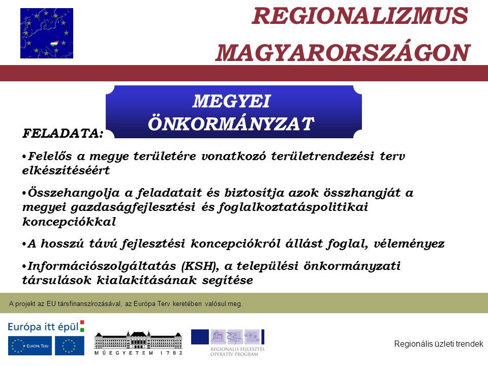 Regionális üzleti trendek A projekt az EU társfinanszírozásával, az Európa Terv keretében valósul meg. 2004. január 27. MEGYEI ÖNKORMÁNYZAT REGIONALIZ