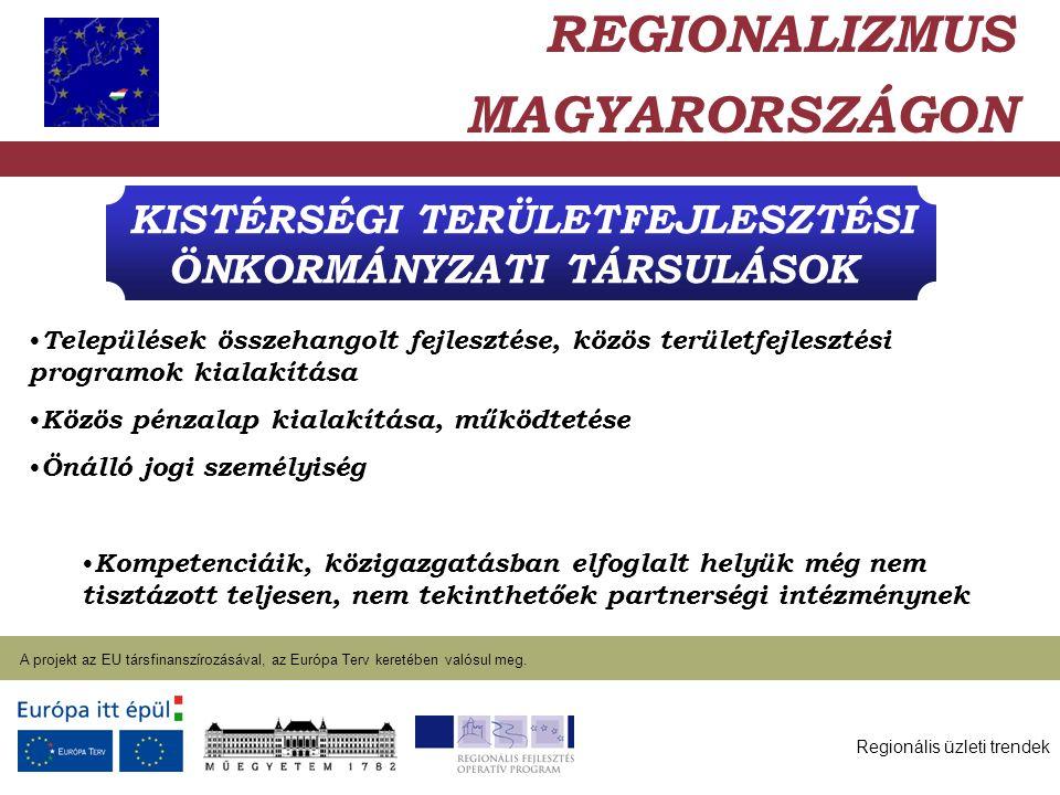 Regionális üzleti trendek A projekt az EU társfinanszírozásával, az Európa Terv keretében valósul meg. 2004. január 27. KISTÉRSÉGI TERÜLETFEJLESZTÉSI