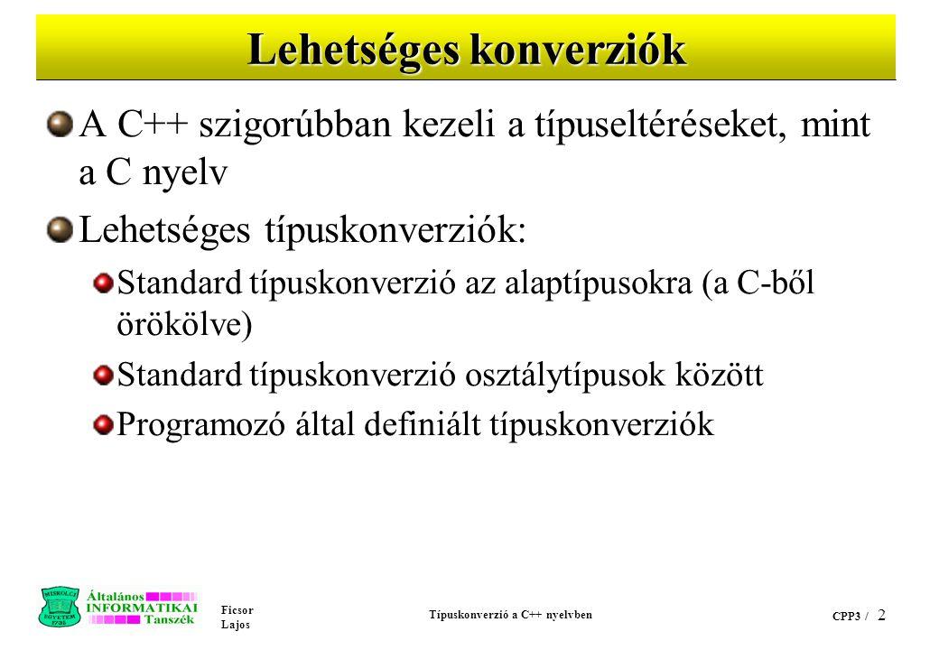 Ficsor Lajos Típuskonverzió a C++ nyelvben CPP3 / 12 cppex24.C (folyt.) // char => int konverzió után // int => CString konverzió.