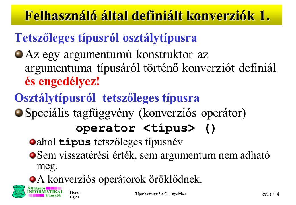 Ficsor Lajos Típuskonverzió a C++ nyelvben CPP3 / 14 cppex25.C (folyt.) void main(void) { // char* => CString konverziót hajt végre CString lakcim = Kiss Aladar u.
