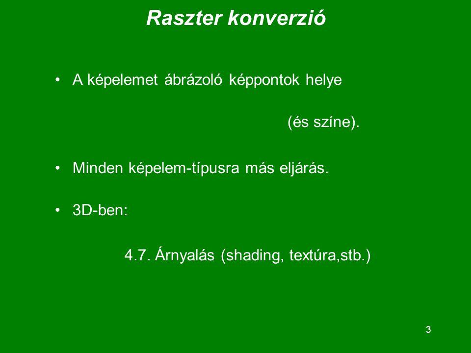 3 Raszter konverzió A képelemet ábrázoló képpontok helye (és színe).
