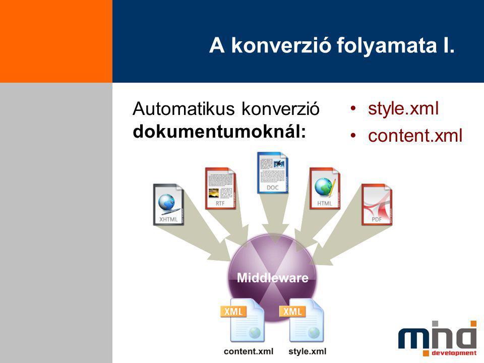 A konverzió folyamata I. Automatikus konverzió dokumentumoknál: style.xml content.xml