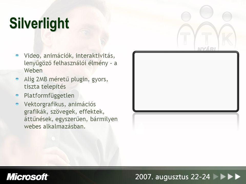 Silverlight Video, animációk, interaktivitás, lenyűgöző felhasználói élmény – a Weben Alig 2MB méretű plugin, gyors, tiszta telepítés Platformfüggetle
