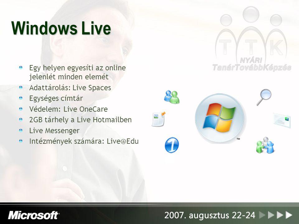 Windows Live Egy helyen egyesíti az online jelenlét minden elemét Adattárolás: Live Spaces Egységes címtár Védelem: Live OneCare 2GB tárhely a Live Ho