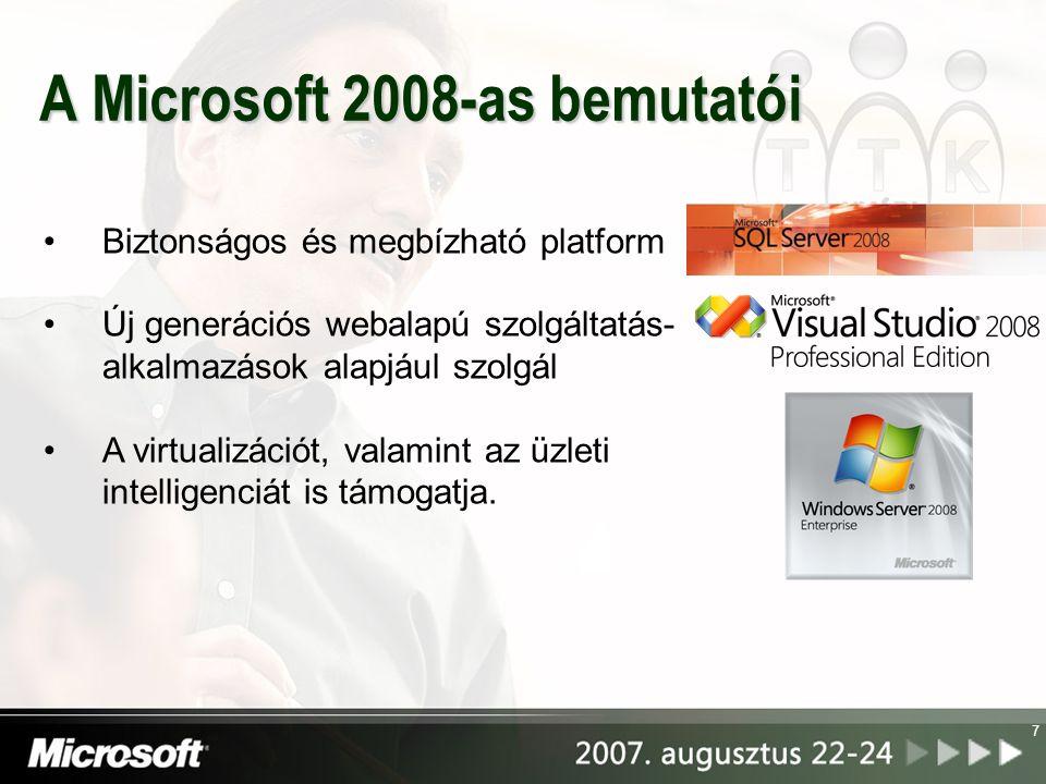 A Microsoft 2008-as bemutatói 7 Biztonságos és megbízható platform Új generációs webalapú szolgáltatás- alkalmazások alapjául szolgál A virtualizációt