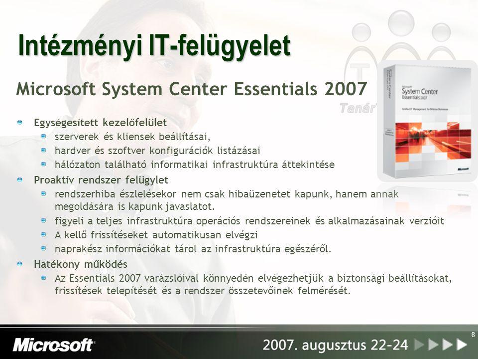 Intézményi IT-felügyelet Microsoft System Center Essentials 2007 Egységesített kezelőfelület szerverek és kliensek beállításai, hardver és szoftver ko